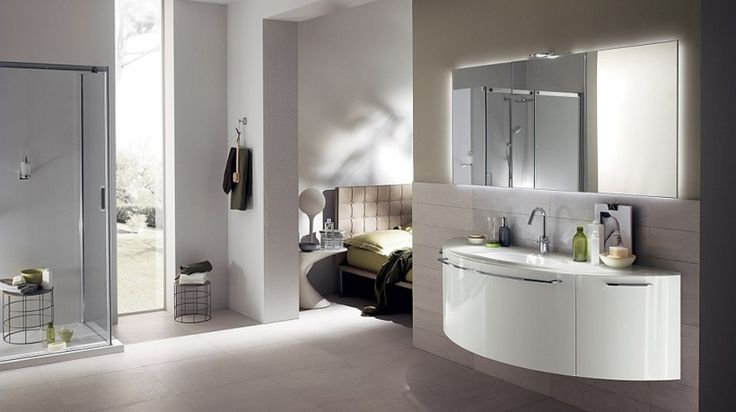 Bathroom : Curved Aquo Washbasin Cabinet In White Stainless Steel Bathroom Faucet Wall Mirror Hanging Towel Shelf Glass Corner Shower Kit Round Stool Main Bedroom Side Table Lamp White Shower Base Symmetrical Steps in Building Modern Bathroom Symmetrical Modern Bathroom. Modern Bathroom. Contemporary Bathroom.