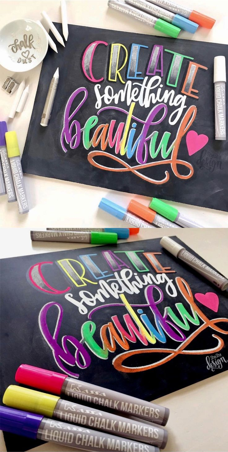 Create something beautiful! This piece was drawn in bright colors and details using chalk and liquid chalk markers.