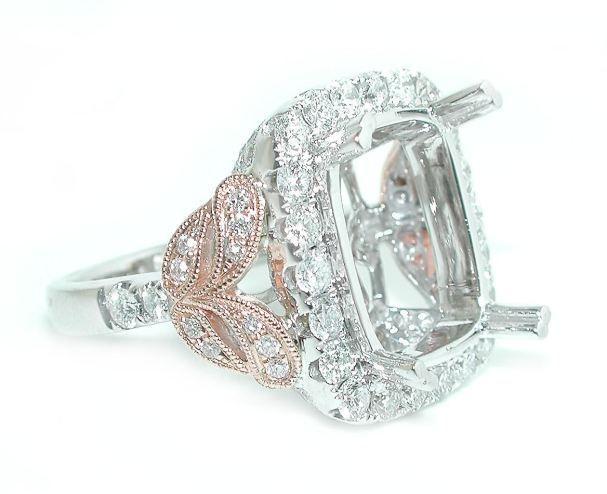 1.5 CT Large Halo w/ Rose Gold DIAMOND Engagement Ring Setting Mounting 14K WG