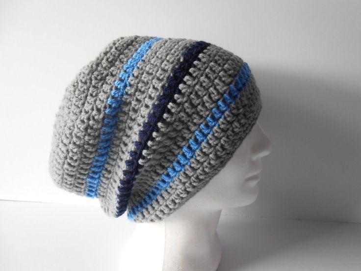 Rasta Hat, Crochet Rasta Hat, Dread Tam, Super Slouchy Beanie, Striped Rasta Hat,  Men's Gray Hat. Ready to ship. by AluraCrafts on Etsy