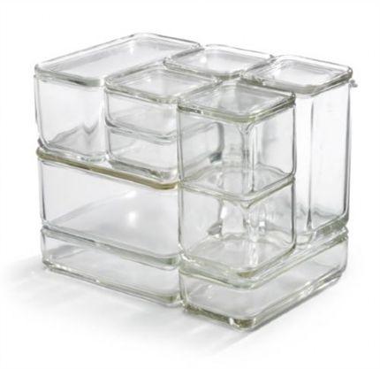 Kubus - Wilhem Wagenfeld - 1938 piezas modulares apilables de almacenamiento de alimentos, hechos de cristal resistente al calor