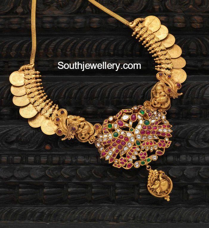 Kasu Necklace with Peacock Pendant photo