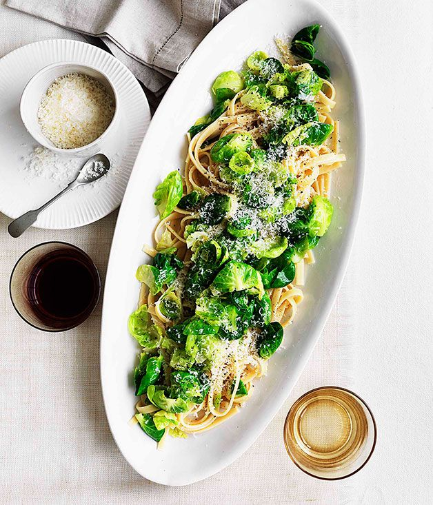Australian Gourmet Traveller fast pasta recipe for fettuccine with Brussels sprouts, pecorino and garlic.