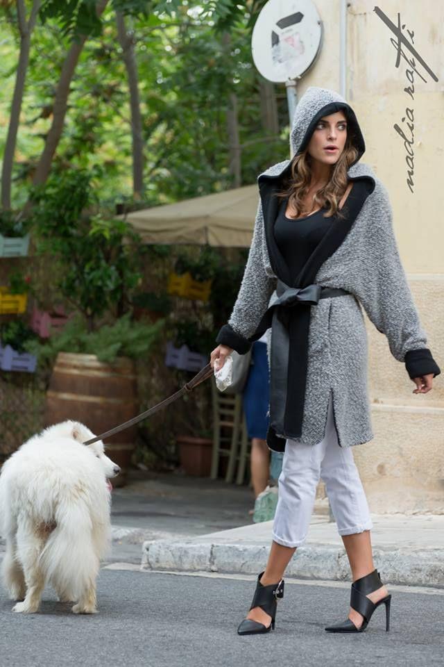 Nadia Rapti Grey Knitted Cardigan _ Fashionnoiz.com  #fashionnoiz