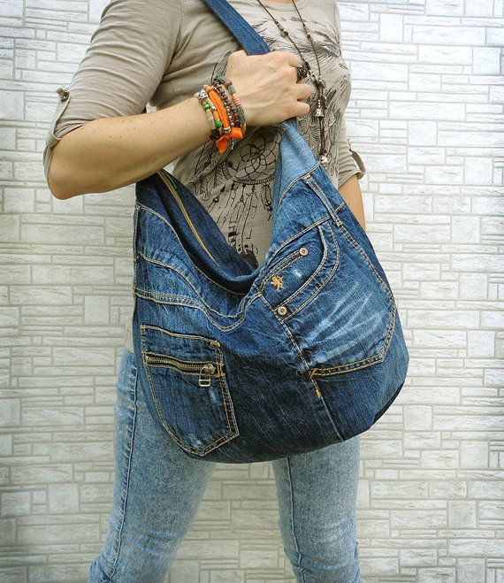 Hobo bag slouchy purse upcycled denim Rock Grunge by BukiBuki