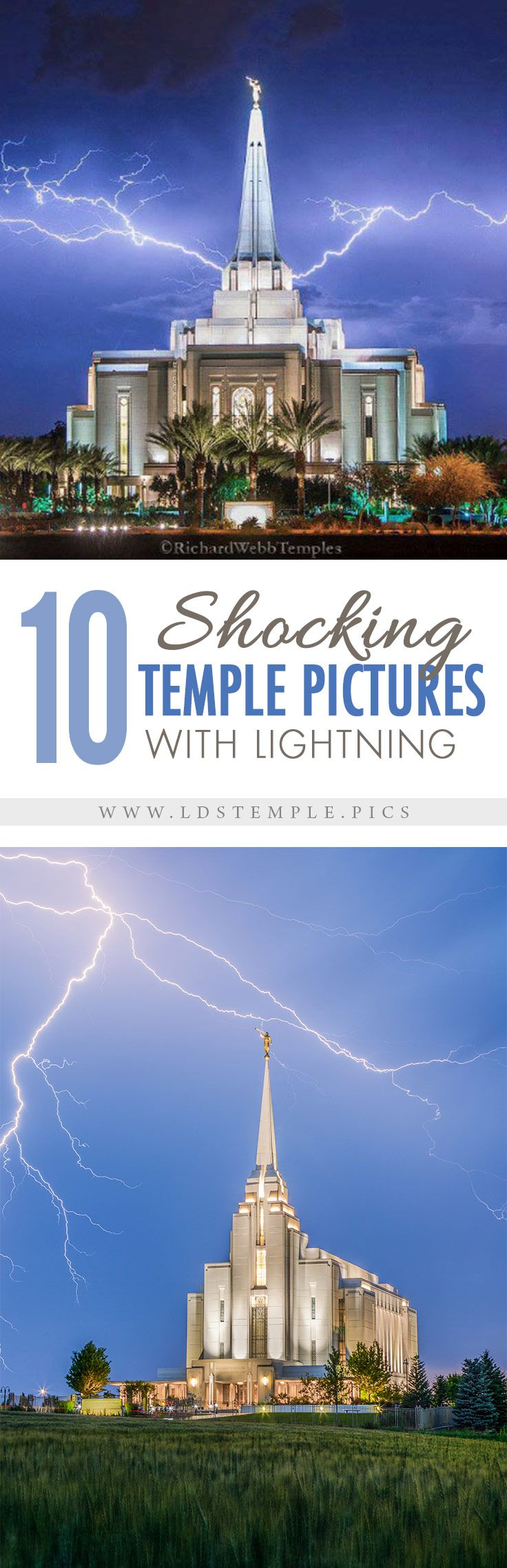 10 Pictures of LDS Temples with Lightning   Every year brings spring and summer storms and the annual monsoon season. So here are 10 shocking (pun intended!) photos of LDS temples and lightning.