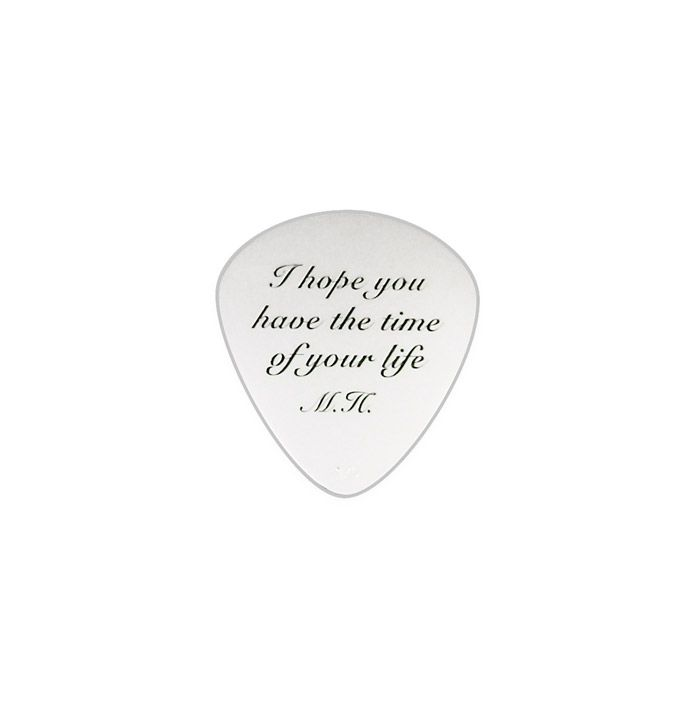 "Silver guitar pick in solid silver 925° with a guitar on one side and the phrase ""I hope you have the time of your life"" and the initials ""M"" and ""P"" (Π) in greek on the other side. By Shine4ever.gr !"