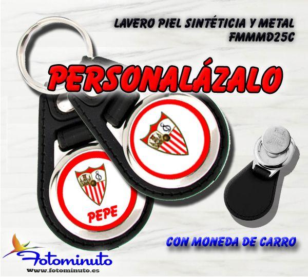 Llavero personalizado Sevilla F.C. con moneda para el carro
