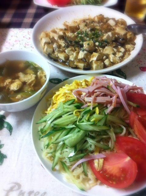食べかけですみません(^^;; - 8件のもぐもぐ - もりもり冷やし中華♡レタスと卵の中華スープ♡麻婆豆腐茄子♡ by riikaatomo19