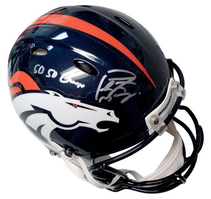 "Autographed Peyton Manning Denver Broncos Super Bowl 50 Champions Authentic Helmet Inscribed ""SB Champs"""