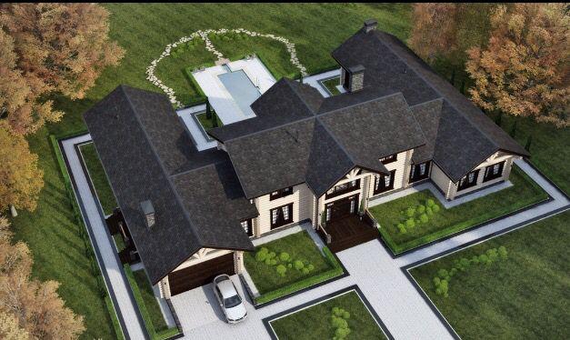 Вид сверху. Проект дома 592 м в Колониальном стиле.  Срок строительства 90 дней. Цена от 10 мл. р.
