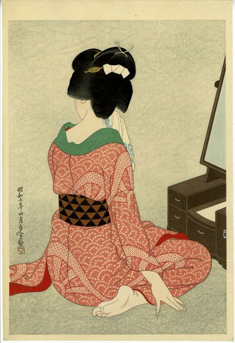 Hirano Hakuho Print. Another example of a way to 1) Develop the base fabric with low water immersion and kimono pattern 2) Print the image of the figure 3) Stitch in to the hair 4) Reenforce the kimono textile with added stitching.