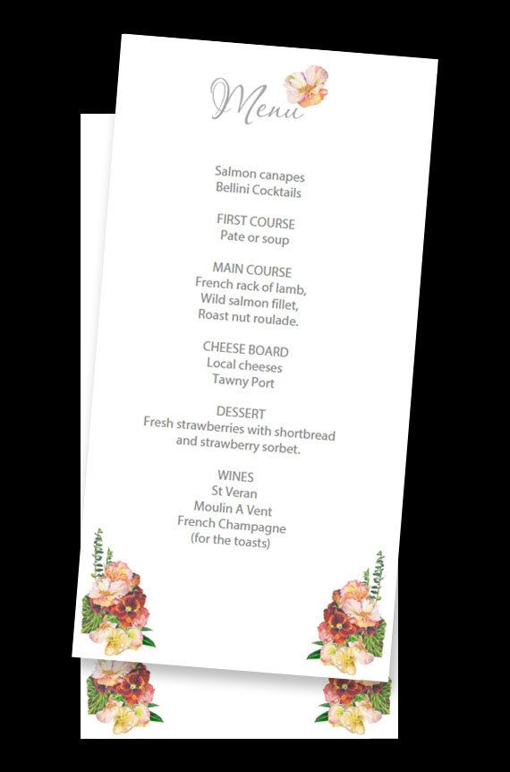 Edit and print Wedding Menus with artwork from a hand drawn posy. PDF Digital download, US/Metric paper sizes inc.