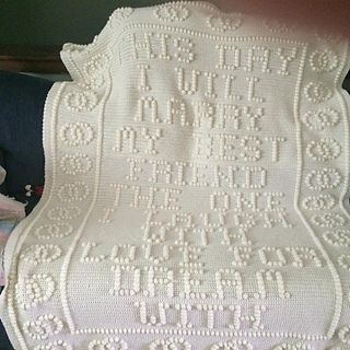 This day I will marry my best friend. Gorgeous crochet afghan blanket as a wedding gift