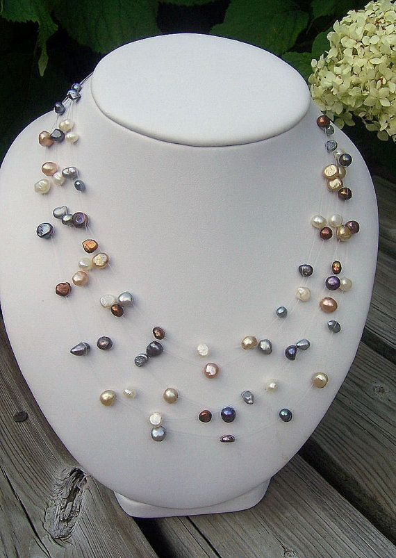 Multicolored pearl illusion necklace floating by starrydreams, $45.00