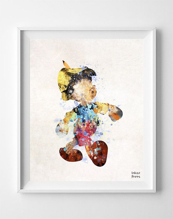 Pinocchio, Print, Disney, Watercolor, Nursery, Baby, Room, Gift, Poster, Art, Illustrations, Watercolour, Giclee Wall, Home Decor [NO 689]