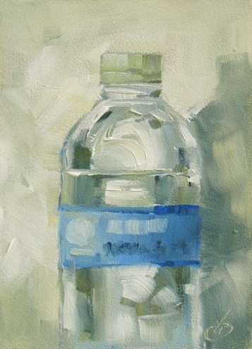 WATER BOTTLE, CONTEMPORARY STILL LIFE by TOM BROWN, 5x7 ORIGINAL OIL, painting by artist Tom Brown