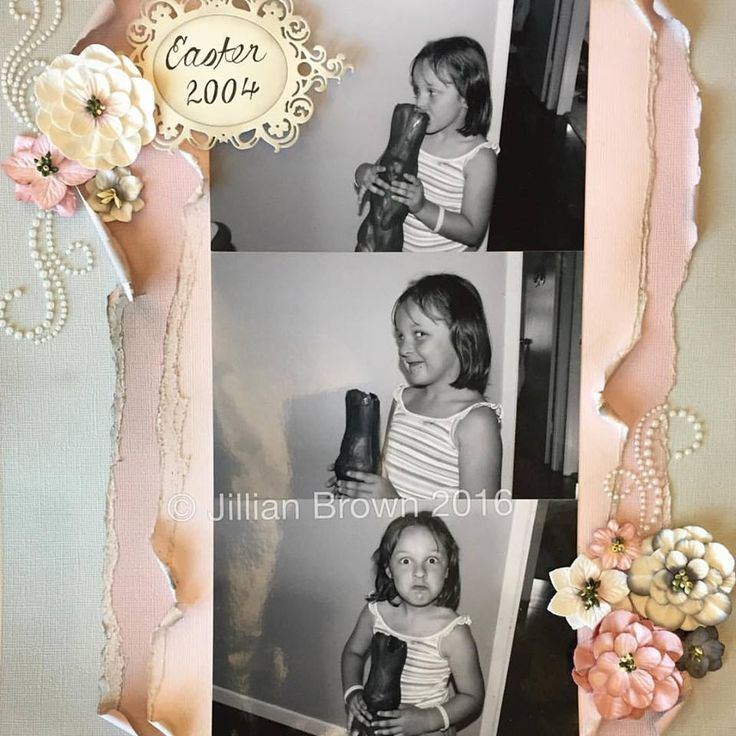 Scrapbooking Layout in pinks and greys with flowers from Petaloo and pearl flourishes #amandasofmogo #mogo #handmade #scrapbooking #layout #easterphotos #petaloo
