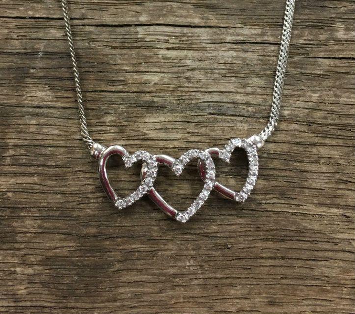 Repair Palace - 14 Karat White Gold Triple Diamond Heart Necklace, $416.00 (http://repairpalace.com/estate-jewelry/14-karat-white-gold-triple-diamond-heart-necklace/)