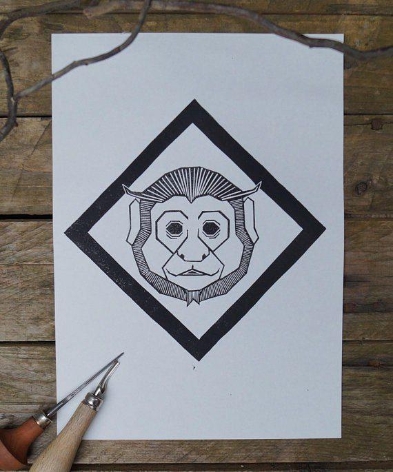 Monkey Original Lino Print Capuchin Linocut Linocut Linoldruck