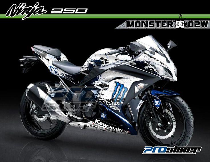 Striping Ninja 250 FI Warna Putih Motif Modifikasi Monster DC Putih Biru 02W