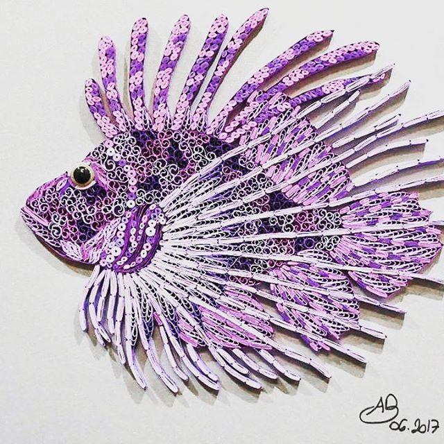 Congratulations to our June Challenge Winner : Angeline Besnou with her stunning #gopurple Lion Fish. #challengewinner #contemporaryquilling #lionfish #winner #coverchallenge #quilling #quilledart #paperart #quilledfish