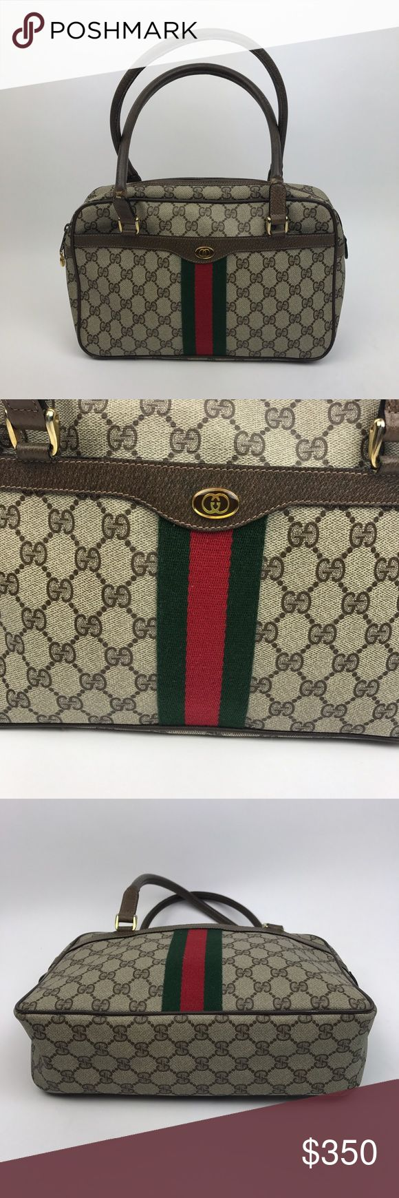 """[Gucci] Vintage Monogram Stripe Shoulder Bag Brown Authentic vintage Gucci handbag. Rectanglular snap with zip top closure. Double handles. Outer slip pocket. Interior has a side zip pocket. Signature logo web canvas coated. Logo zipper pull. Stamped inside """"Gucci Accessory Collection"""" Made in Italy. Serial number on tag   🔹Dimensions: 12""""L x 8""""H x 3.5""""D 🔹Strap Drop: 8"""" 🔹Condition: Very good pre-owned condition. Some wear/marks on leather handles mainly where they bend. Small scuff on…"""
