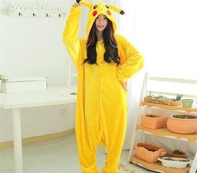 Adult Woman Man Halloween Cosplay Costume Pokemon go Onesies Costume Pikachu Pajamas Cosplay Pyjamas Sleepwear Winter One Piece
