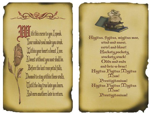 Disney inspired beast spell and