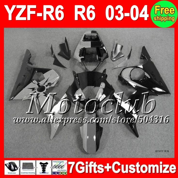 Серый черный 7 подарки + тела для YAMAHA YZF-R6 03-04 YZF R6 YZF R 6 2003 2004 серый 46# blk C9481 YZF600 R6 YZFR6 03 04 обтекатель комплект