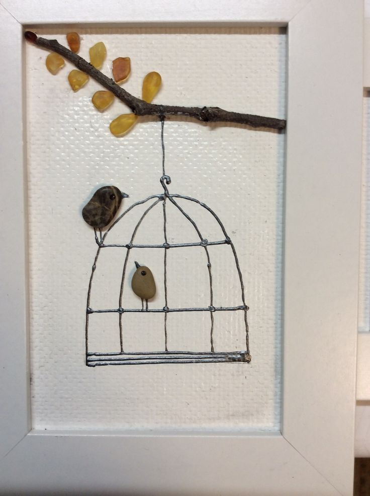 Картинка из камушков и янтаря