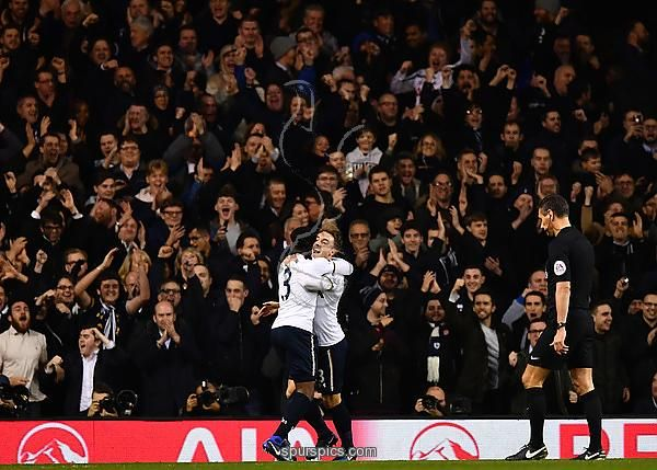 LONDON, ENGLAND - DECEMBER 14: Christian Eriksen of Tottenham Hotspur (R) celebrates scoring his sides first goal with Danny Rose of Tottenham Hotspur (L) during the Premier League match between Tottenham Hotspur and Hull City at White Hart