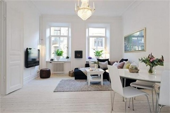 Simple Modern White  Living room Design with Black Sofa Wall LCD TV and Scandinavian Style