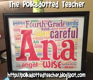 AWESOME end of the year gift for each student: Comes with a sheet to give each student where they write one word to describe each of their classmates. Combine classmates' words into a word cloud surrounding that student's name. Present as a framed gift on last day :)