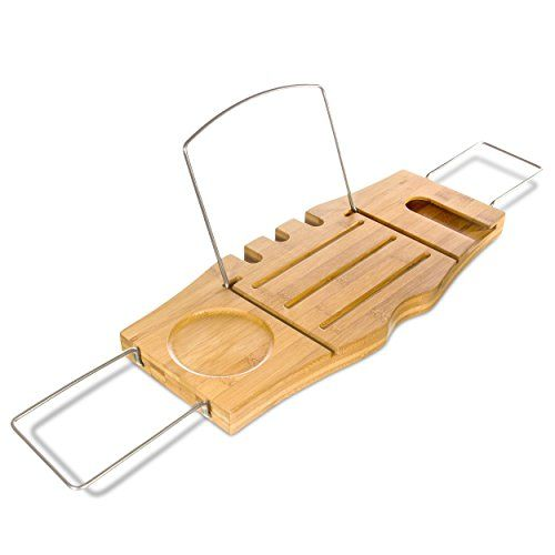 Clean Healthy Living Bamboo Bathtub Caddy Tray, With Reading Tray U0026 Wine  Glass Holder