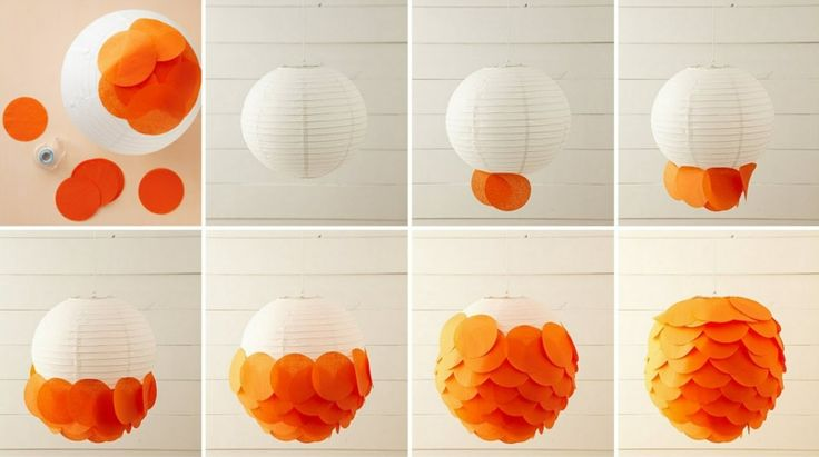lampe selber basteln papier laterne kreise orange kleben