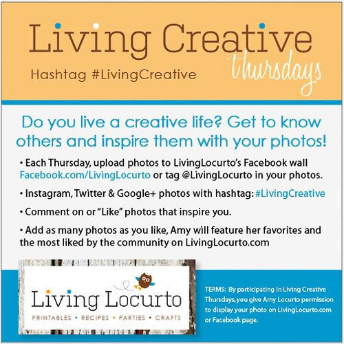 Living Creative Thursdays - Inspire others by sharing photos of your creative life and projects! Fan favorites get featured on LivingLocurto.com #LivingCreative: Sharing Photos, Creative Life, Creative Thursdays, Living Creative, Inspire Others, Fan Favorites