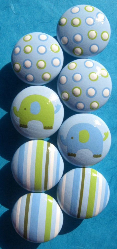 Hand Painted Drawer Knobs - Elephants, Polka Dots and Stripes in Pale Blues, Lime Green, Sage Green  - Set of 8. $62.00 USD, via Etsy.