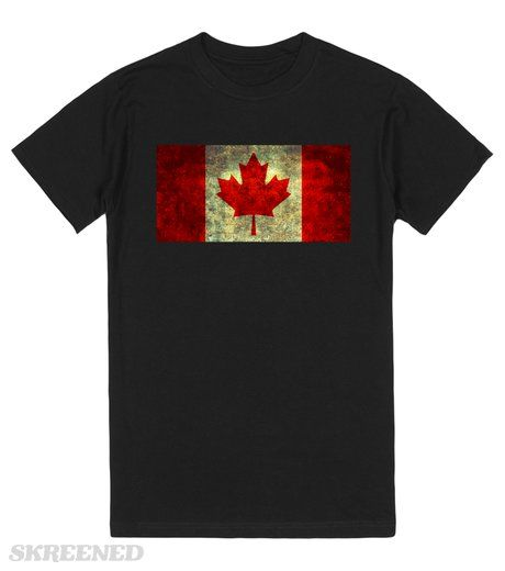 Oh Canada! | The famous Canadian red maple leaf on equally famous flag of Canada in distressed retro vintage style!  #Skreened