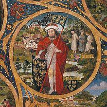 Markgraf Heinrich I. (der Starke) im Hintergrund das Martyrium des hl. Koloman. (Ausschnitt aus dem Babenberger Stammbaum, Stift Klosterneuburg)