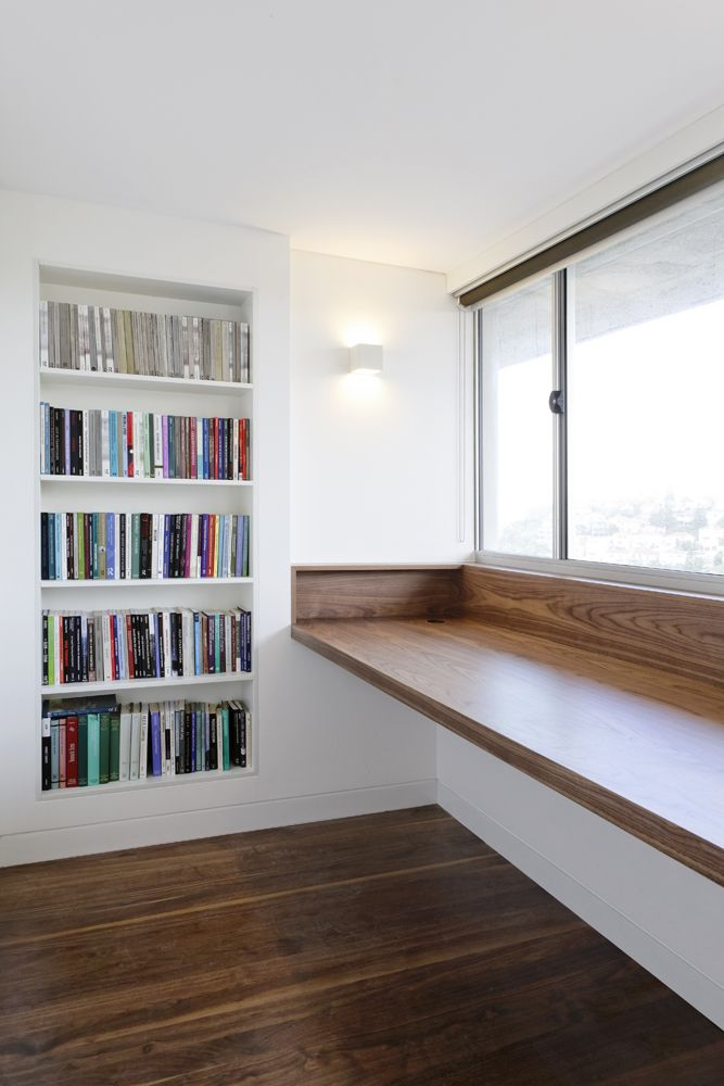 25 best ideas about window desk on pinterest study of space desk ideas and desk for study - Contemporary built in bookshelves ...