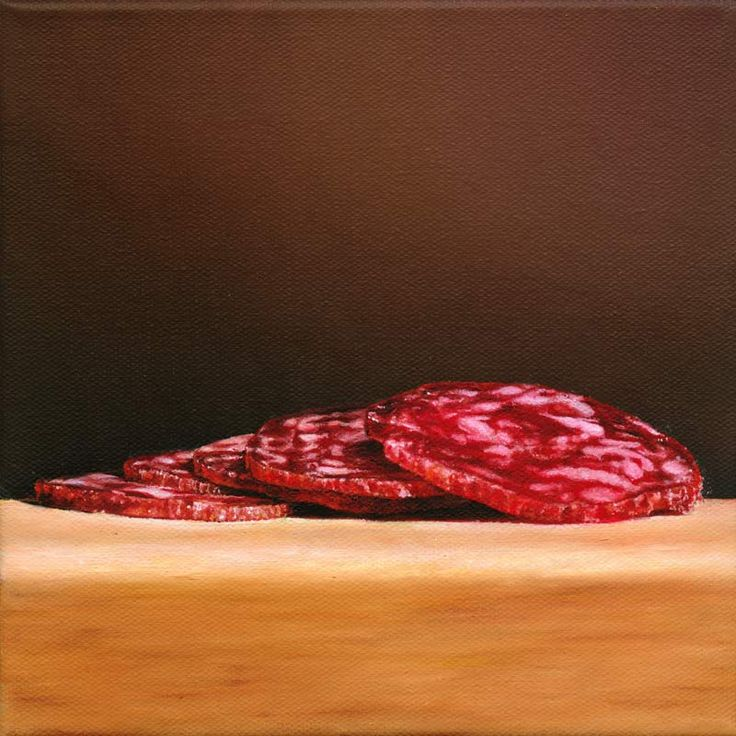 Christoph Eberle | Hyperrealistic painter | Still life | Salchichón, 2011, 20 × 20 cm, oil on canvas