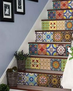 Set of 24 tile stickers Back splash Talavera style stickers mixed for walls Kitchen bathroom Stair decals C400