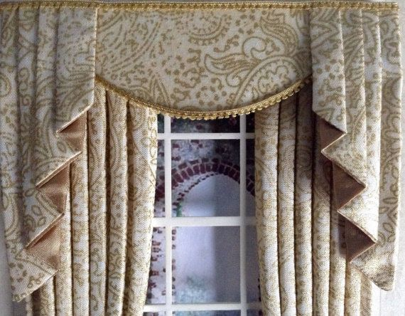 Perfect Scale GOLD Ivory PAISLEY Dollhouse Curtains And Tails For Dolls House  Miniatures: