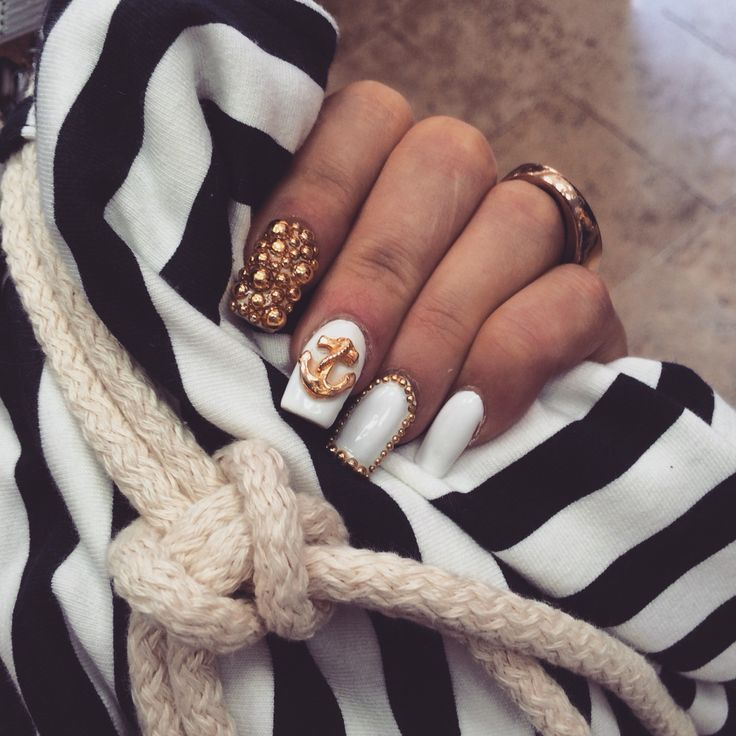 #nail#nails#white#gold#blue#anchor