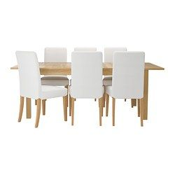 IKEA - BJURSTA / HENRIKSDAL, Table and 6 chairs, 2 extension leaves included.It's quick and easy to change the size of the table to suit your different needs. With 2 extra leafs stored under the table top you can extend the table to seat from 4 to 8 people.The clear-lacquered surface is easy to wipe clean.The hidden lock keeps the extension leaf in place and prevents gaps between the leaves.You can store the extension leaves within easy reach under the table top.