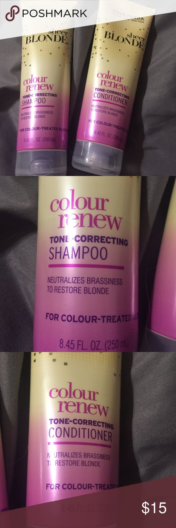 Sheer blonde Shampoo and conditioner colour renew tone correcting shampoo and conditioner. These are purple in color and are meant to tone out brassy tones from blonde hair. Full sized only used once John Frieda Other