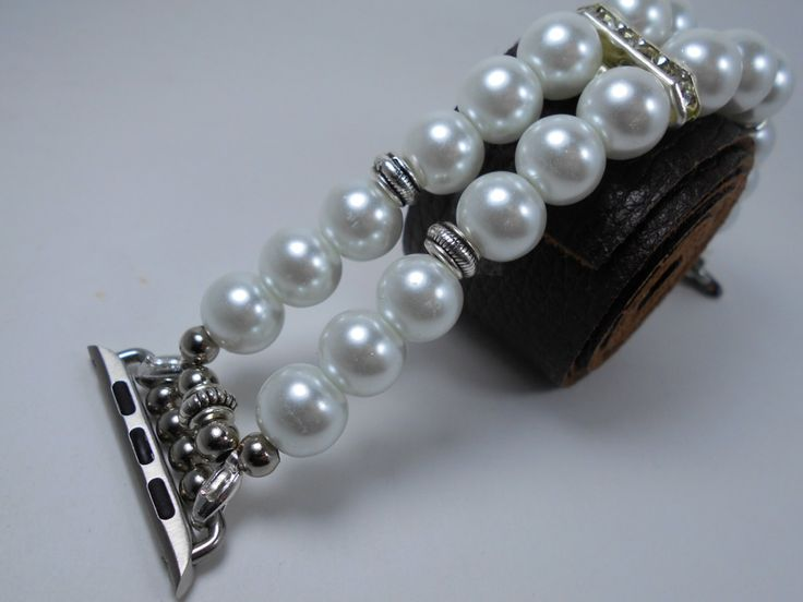 Apple Watch Band White Silver 38 42 mm apple iwatch band featuring faux pearl beads Replacement Strap Adapters stretch fit strap by helenvivre on Etsy https://www.etsy.com/listing/474977736/apple-watch-band-white-silver-38-42-mm