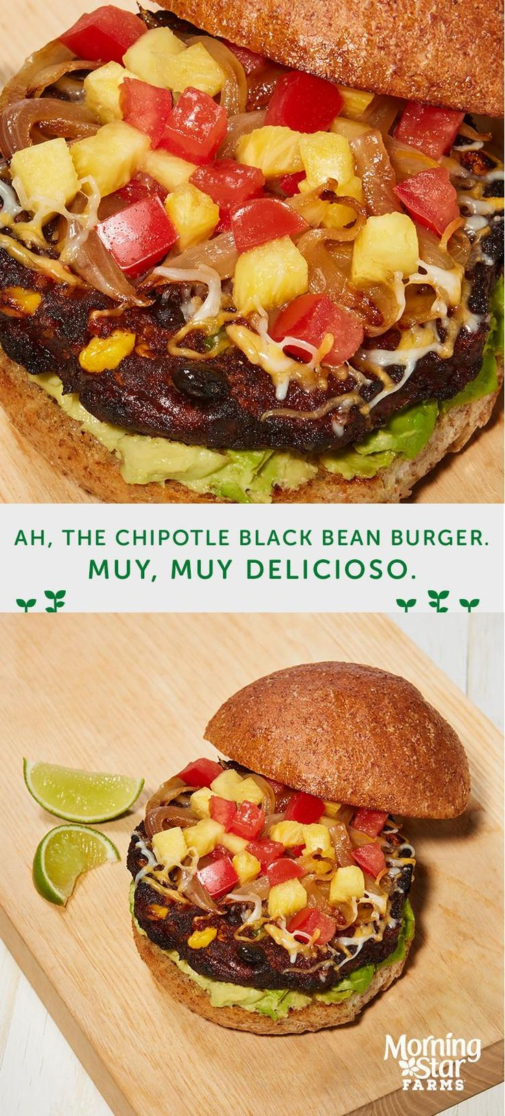 This spicy veggie burger is sure to become a quick go-to weeknight dinner recipe. Muy delicioso!
