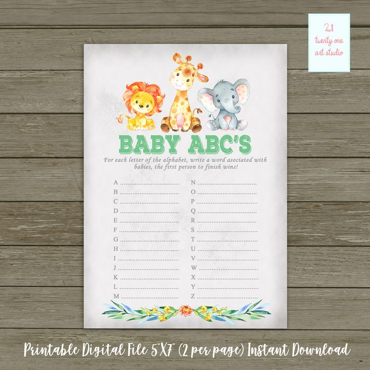 baby shower bbq invitation templates%0A Jungle Safari Baby ABC u    s Baby Shower Game  Animal Zoo Baby Shower Game   Safari Gender